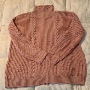 Pink Cable knit button back sweater (2X)